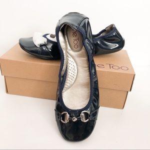 New Me Too dark blue patent ballet flats